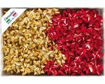 COCCARDE STELLE METALLIZZATE LUCIDE 6870 LISCE 100pz 14mmø 65mm S1 ORO/ROSSO