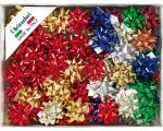 COCCARDE STELLE METALLIZZATE LUCIDE 6870 LISCE 100pz 10mmø 50mm 00 ASSORTITE