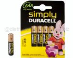 BATTERIE DURACELL SIMPLY ALKALINE MINI STILO AAA 1,5VOLTS BLISTER 4PZ