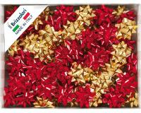 COCCARDE STELLE METALLIZZATE LUCIDE 6870 LISCE 100pz 10mmø 50mm ORO/ROSSE